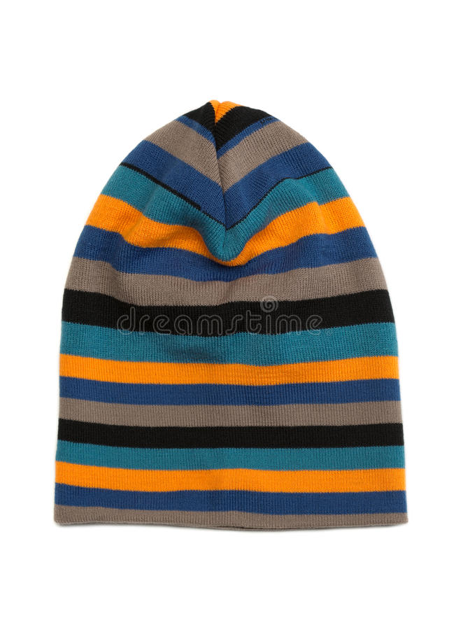 Striped colored knitted hat. royalty free stock photography