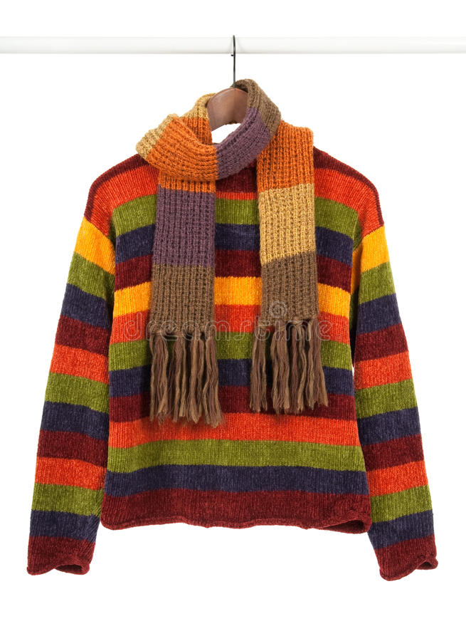 Free Striped Colorful Sweeter And Scarf Stock Photography - 16784252