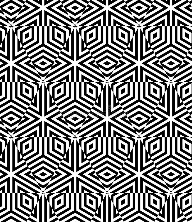 STRIPED CUBE SEAMLESS PATTERN VECTOR. GEOMETRIC MONOCHROME BACKGROUND. OPTIC ART DESING stock illustration