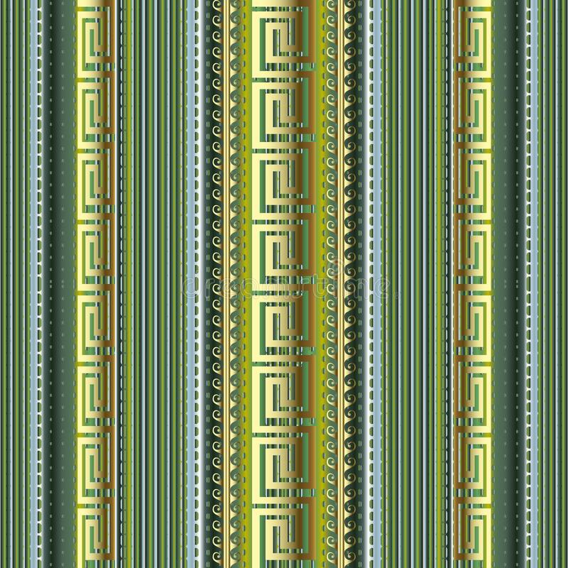 Striped 3d greek vector seamless pattern. Colorful dotted line ornamental background. Textured repeat borders backdrop. Vertical vector illustration