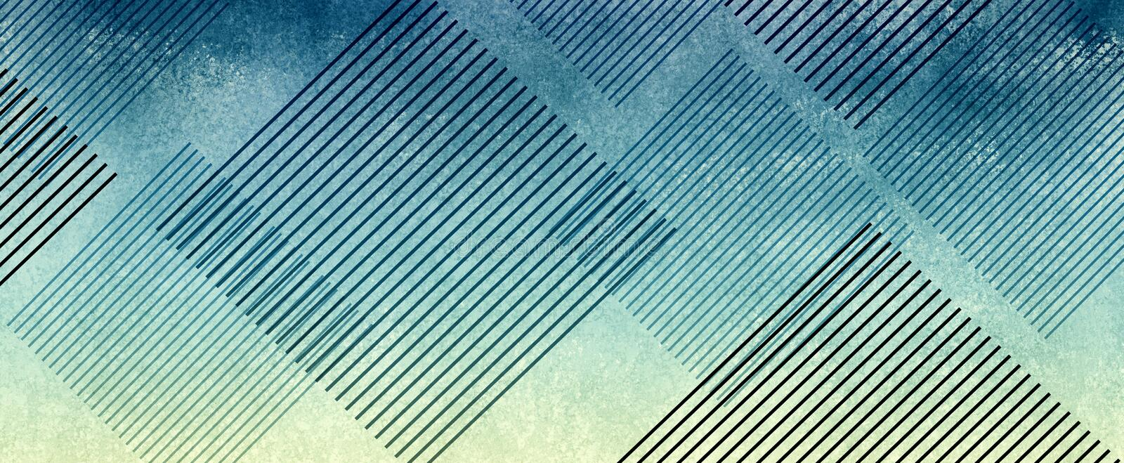Striped diamond shapes on abstract blue and yellow textured background design stock photos