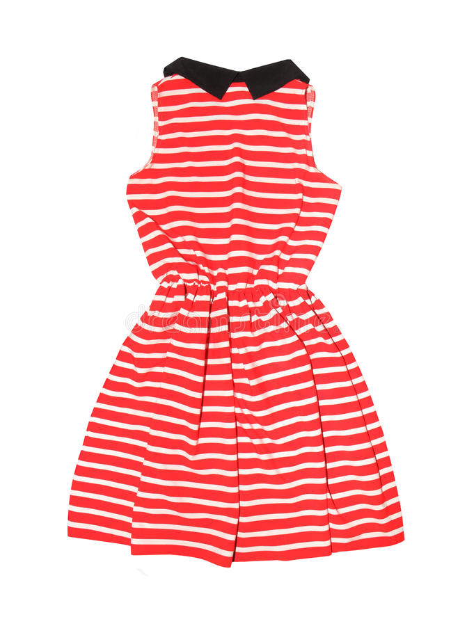 Striped dress isolated on white stock photos