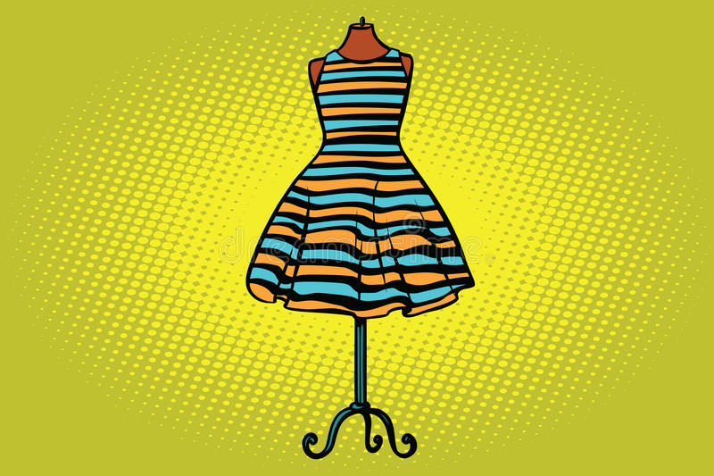 Striped dress in Studio on the dummy front hanger. Comic cartoon style pop art vector retro illustration royalty free illustration