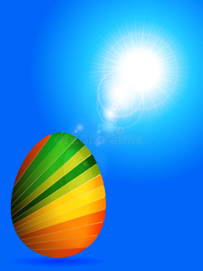 Striped Easter egg over sunny blue sky royalty free illustration