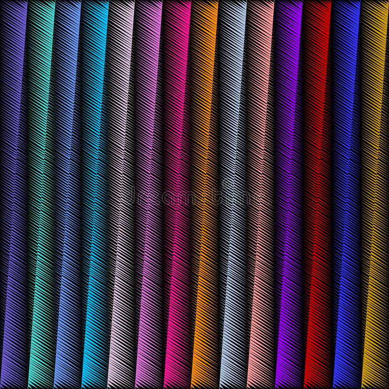 Striped embroidery 3d geometric seamless pattern. Vector abstract geometrical grunge background. Colorful tapestry vertical strip vector illustration
