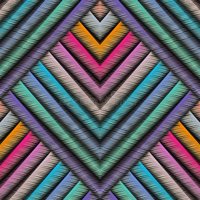 Striped embroidery 3d geometric seamless pattern. Vector abstract geometrical grunge background. Colorful tapestry royalty free illustration