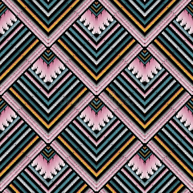 Striped embroidery vector seamless pattern. Grunge tapestry stripes, borders. Geometric ethnic style tribal zig zag background. E. Mbroidered colorful tiled vector illustration