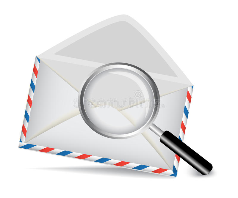 Striped envelope and magnifying glass royalty free illustration