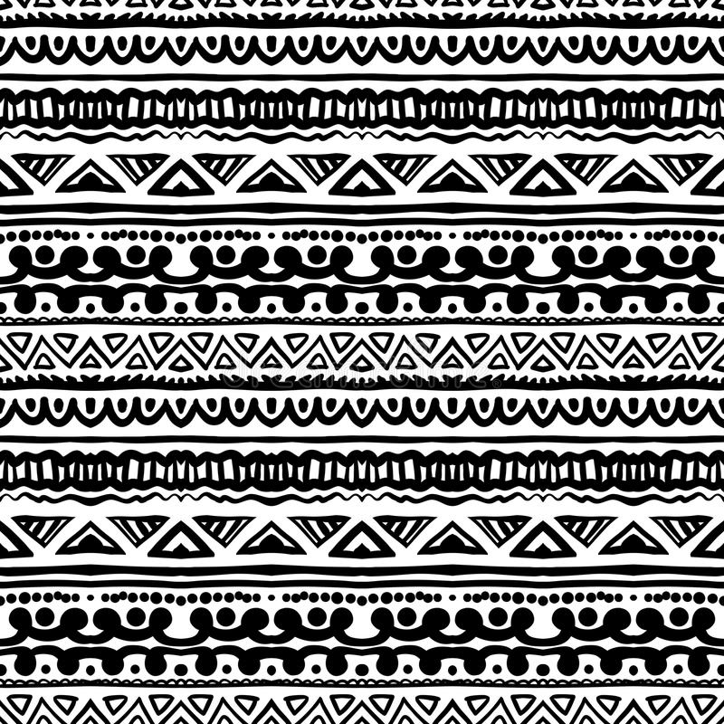 Striped ethnic pattern in black and white stock illustration