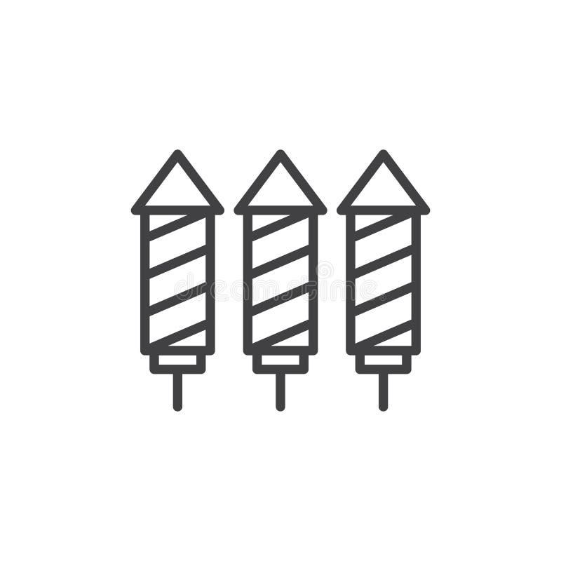 Striped firework rockets outline icon vector illustration