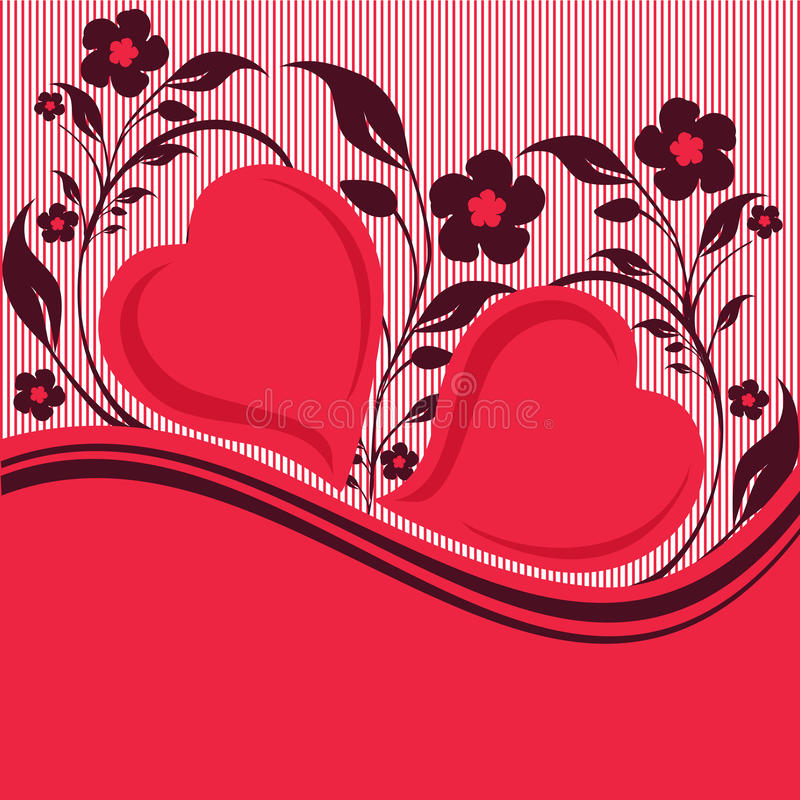 Download Striped Floral Ornament With Two Hearts Royalty Free Stock Photos - Image: 18143768