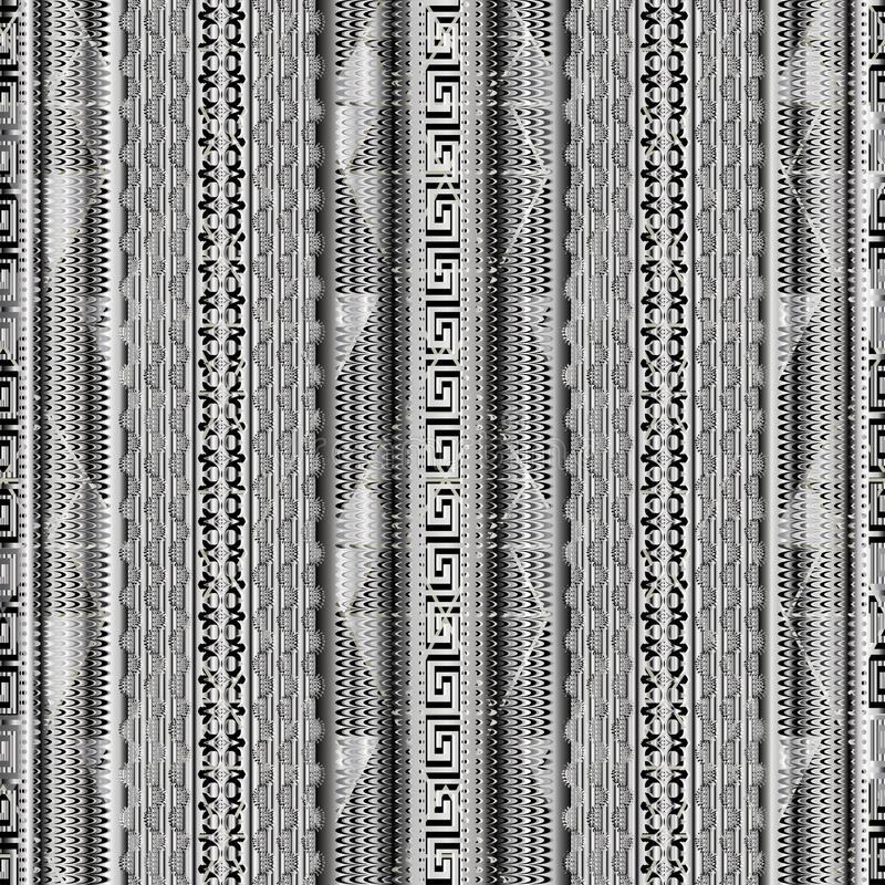 Striped geometric 3d greek key seamless borders pattern. Vector. Textured background. Lace lines, waves, vertical stripes, halftone, meanders, rhombus royalty free illustration