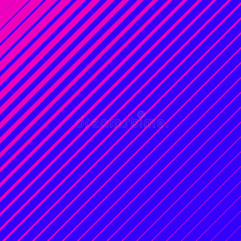 Striped geometrical diagonal parallel pink lines pattern on blue background. Repeat straight stripes texture background royalty free illustration