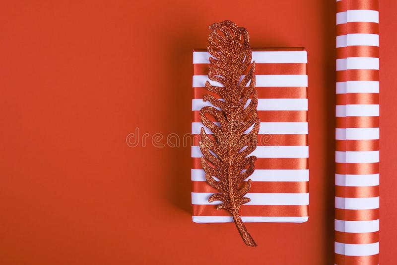 Striped gift box with a bright shiny feather stock photography
