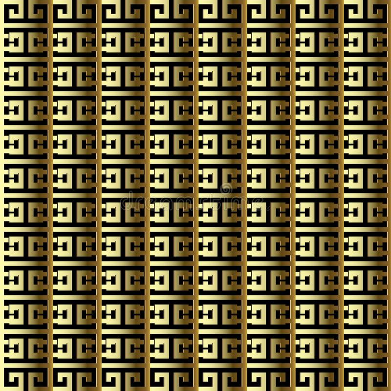 Striped gold 3d greek vector seamless border pattern. Golden ornamental surface background. Ornate repeat geometric abstract back. Drop. Vertical stripes vector illustration