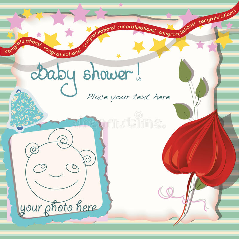Striped green postcard. Baby shower postcard in a scrapbook stile with a photo frame vector illustration