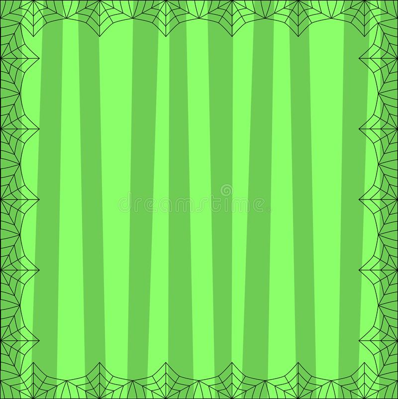 Striped green square background with cute vertical stripes framed with spider coweb. Striped green square background with cute vertical stripes framed with vector illustration