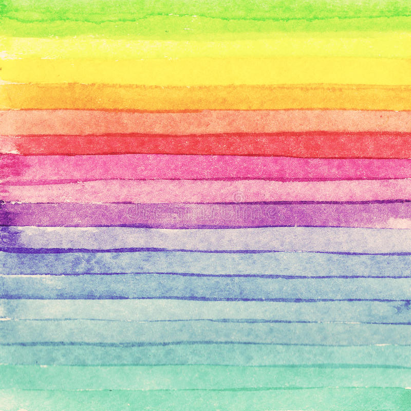Striped hand drawn watercolor background. Raster version. Brigth colors. stock photography