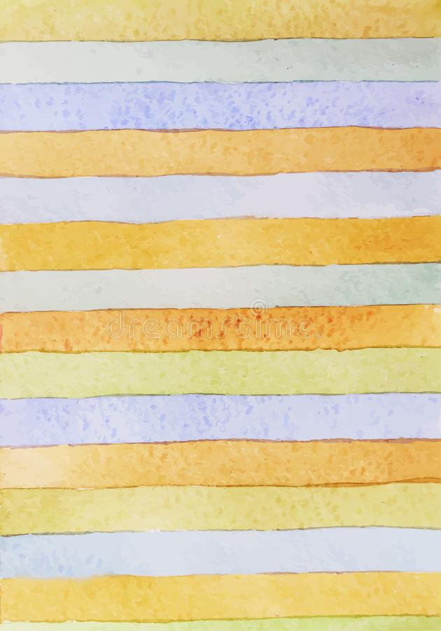 Striped hand drawn watercolor background. Vector version.Pastel colors. Watercolor composition for scrapbook elements or print. Striped hand drawn watercolor stock photography
