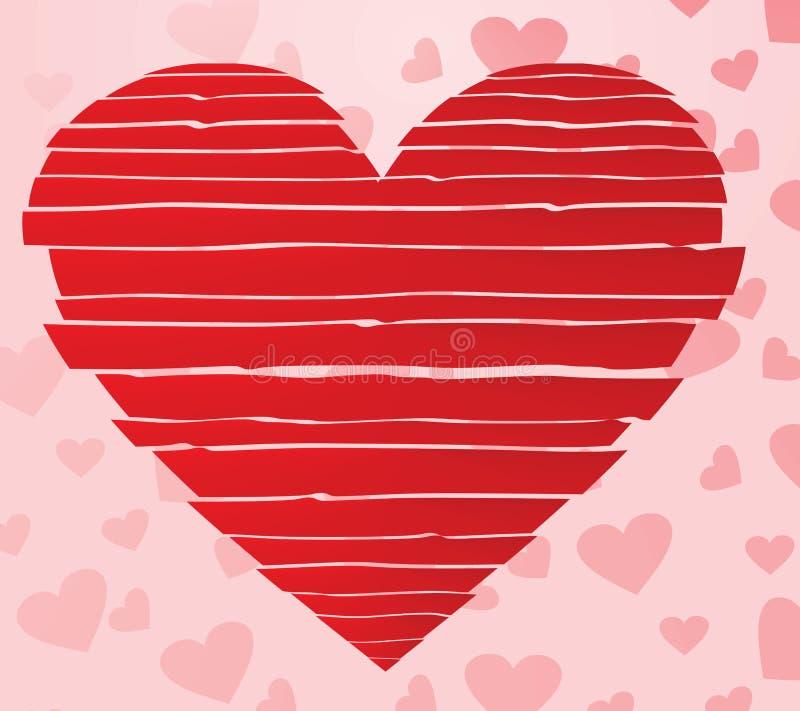 Striped heart. romance concept. Vector illustration royalty free illustration