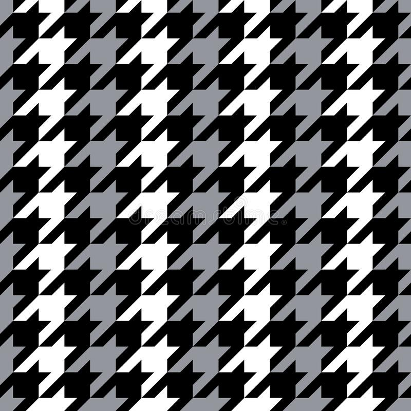Striped Hounds Tooth in Grey, Black and White stock illustration
