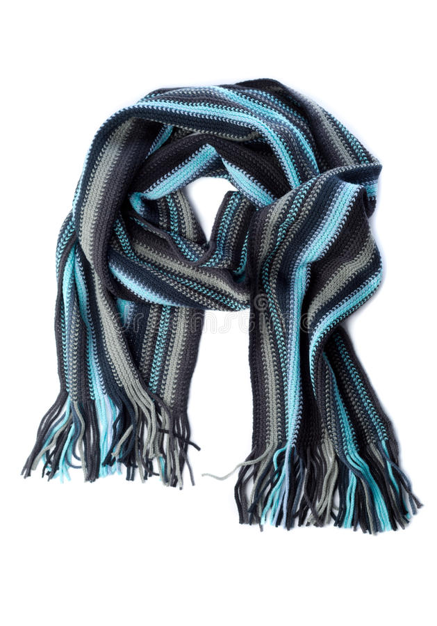 Free Striped Knitted Woollen Scarf Isolated On White Stock Image - 36767701