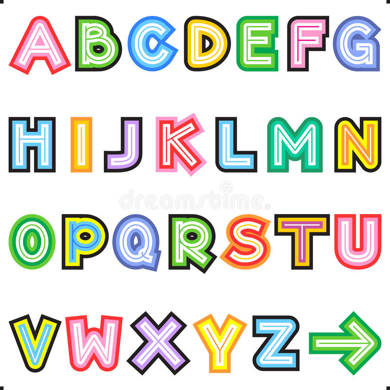 Download Striped Letters Alphabet Set Stock Vector