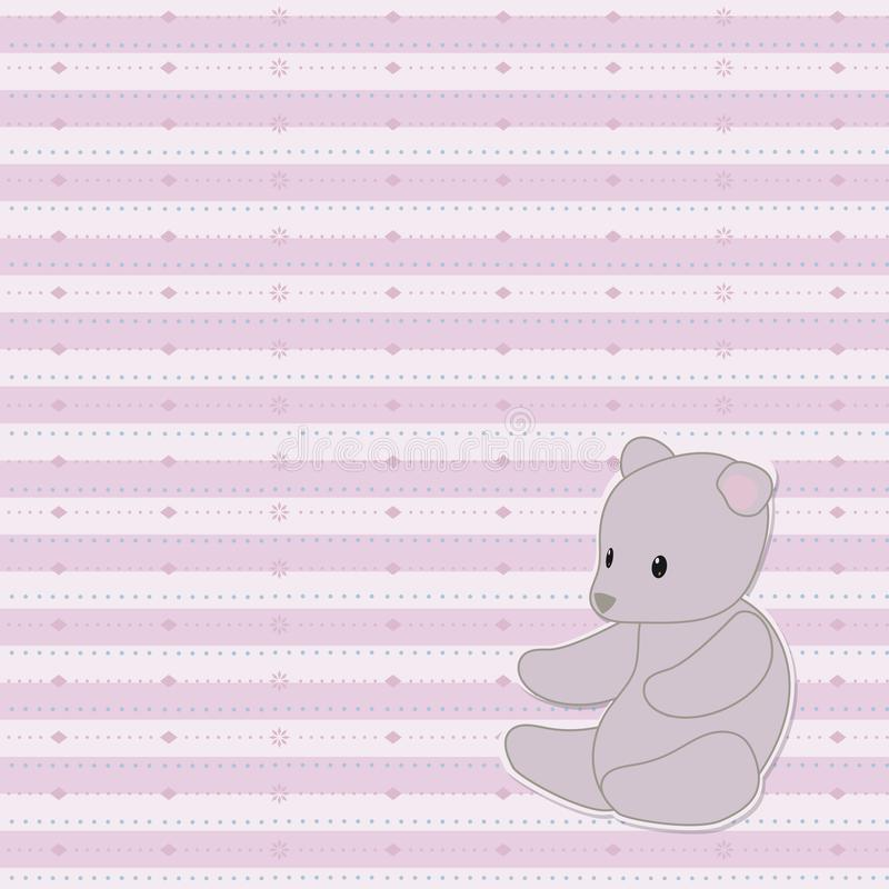 Striped light pink cute baby vector seamless pattern with patterned lines of dots, rhombuses, with a gray soft teddy bear toy in t vector illustration