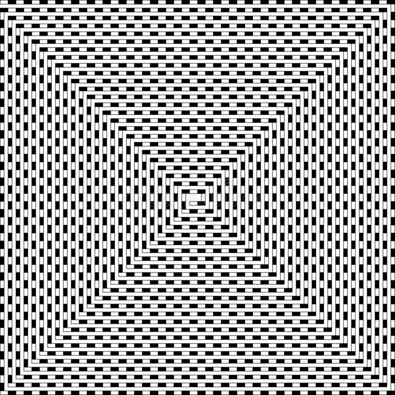 Striped line spun into a spiral, black and white psychedelic pat. Tern royalty free illustration
