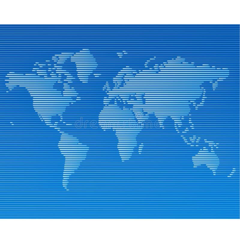 Striped line world map template. Illustration royalty free illustration