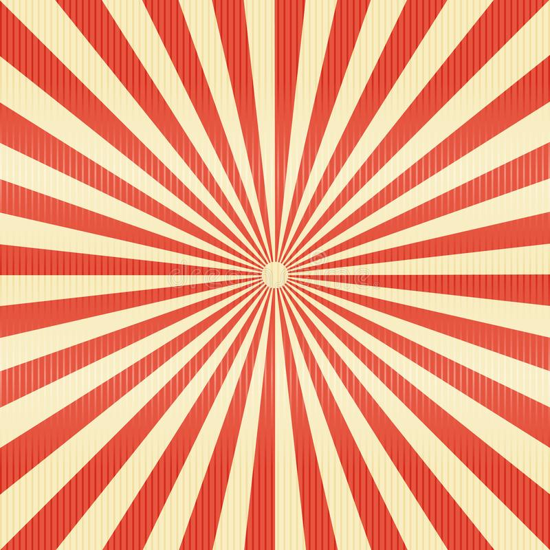 Striped lines pattern paper. Retro radius burst red color background. royalty free illustration