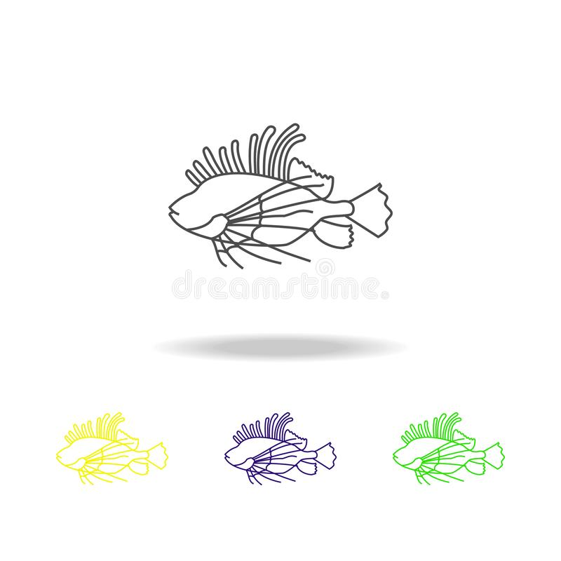 striped lionfish multicolored icons. Element of popular sea animals icon. Signs and symbols outline icon for websites, web design, stock illustration