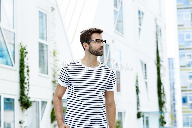 Striped man with spectacles stock photos