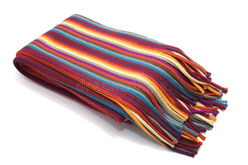 Striped multicolored woolen scarf royalty free stock photo