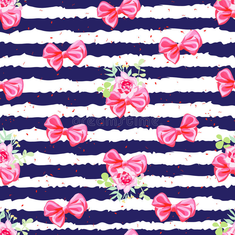 Striped navy seamless vector print with satin bows and rose flow. Striped navy seamless vector print with red satin bows and rose flowers vector illustration