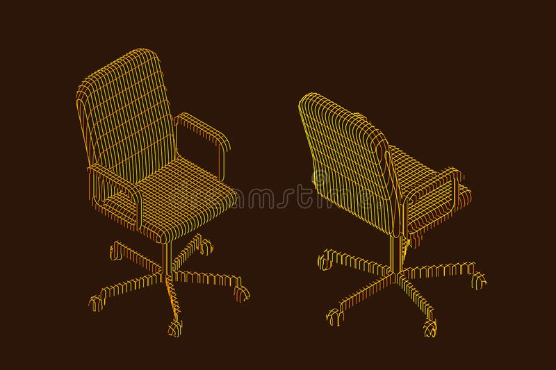 Striped Office chair. Vector contour illustration stock illustration