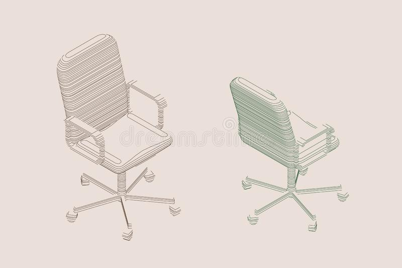 Striped Office chair. Vector contour illustration royalty free illustration