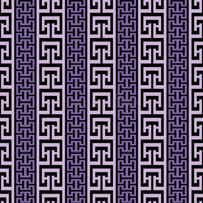 Striped ornate greek vector seamless border pattern. Abstract mo. Dern geometric background. Vertical greek key meanders borders, stripes, ornament. Repeat stock illustration