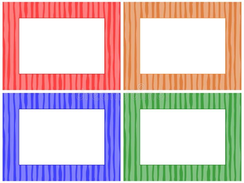 Striped Pattern Frame Set vector illustration
