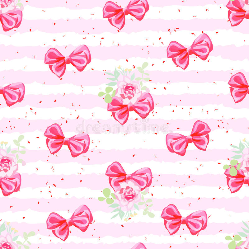 Striped pink seamless vector pattern with satin bows and rose fl stock illustration