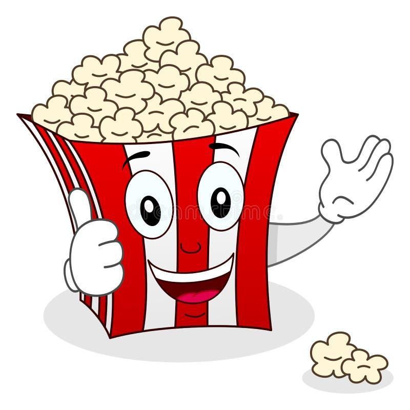 Striped Popcorn Bag Character Smiling royalty free illustration