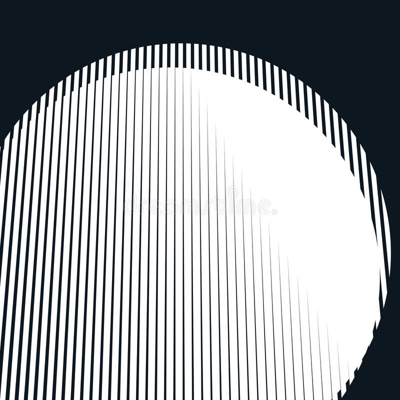 Striped psychedelic background with black and white moire lines vector illustration