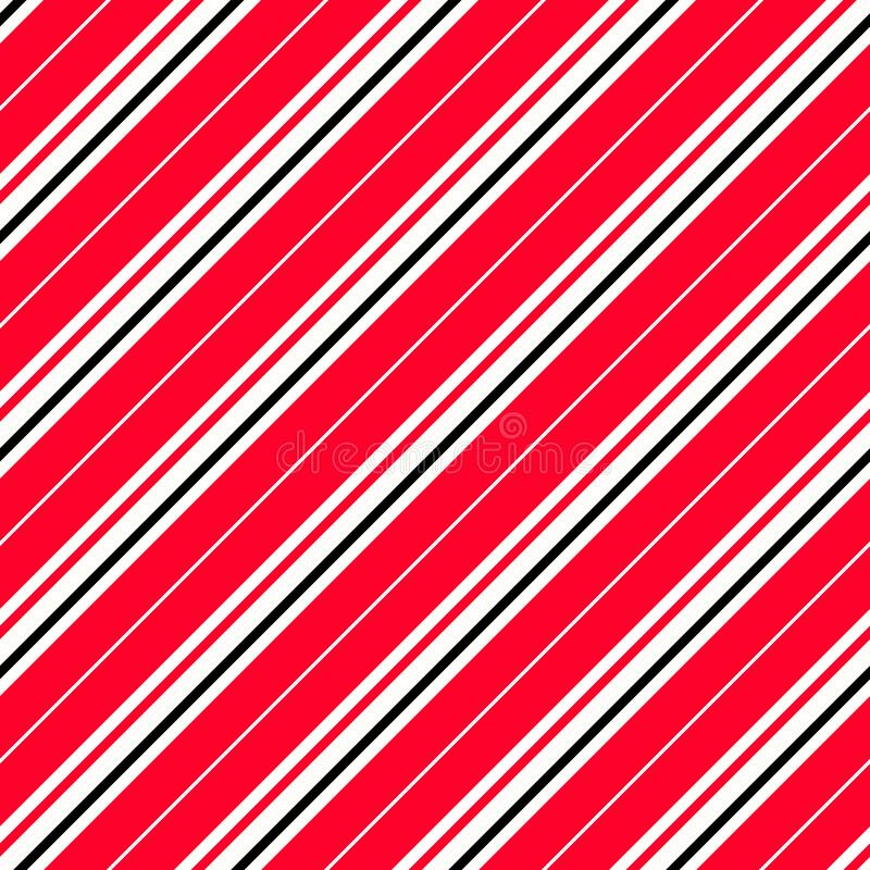 Striped red, black and white diagonal pattern. Warning background for hazardous elements. Repeating seamless vector royalty free illustration