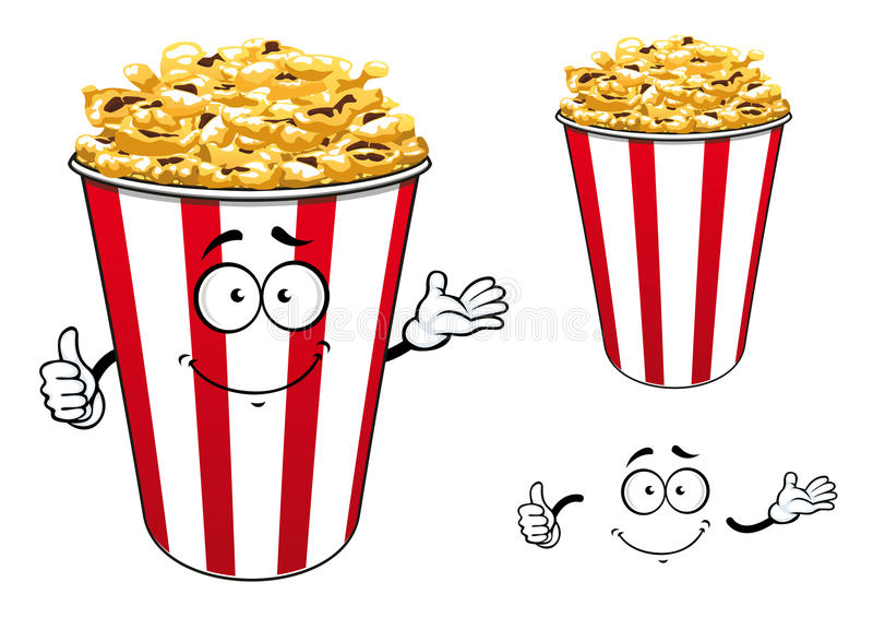 Striped red paper bucket of popcorn cartoon. Cartoon striped red paper bucket of crunchy popcorn character showing thumb up gesture with cute smile for fast food vector illustration