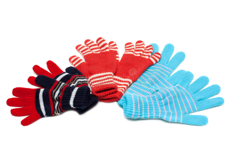 Download Striped Red Three Pair Of The Gloves Stock Image - Image: 12062971