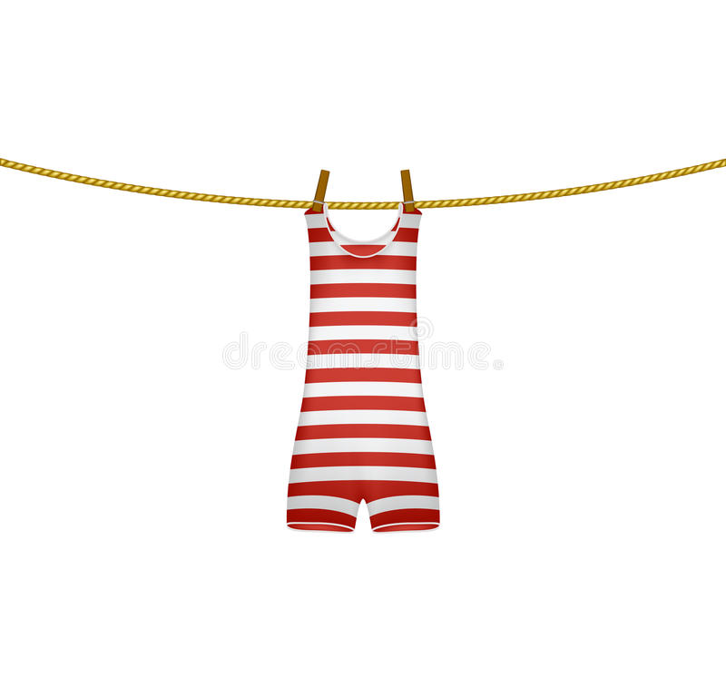 Striped retro swimsuit hanging on rope vector illustration