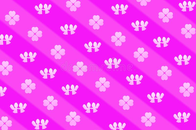Striped romantic background or wrapping paper, pattern of angels holding hands and heart shaped clovers. A Striped romantic background or wrapping paper, pattern stock illustration