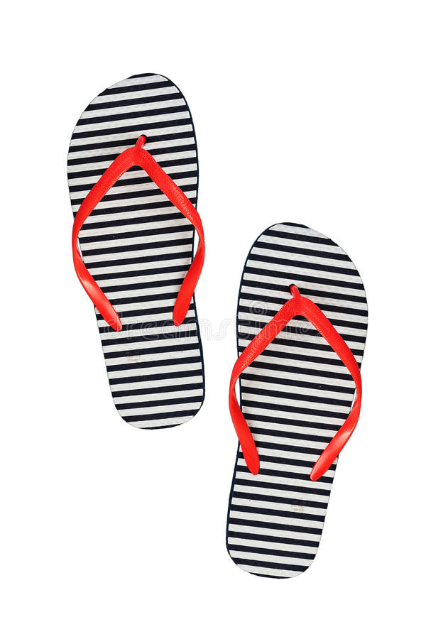 Striped rubber flip flops, isolated on a white background stock photo