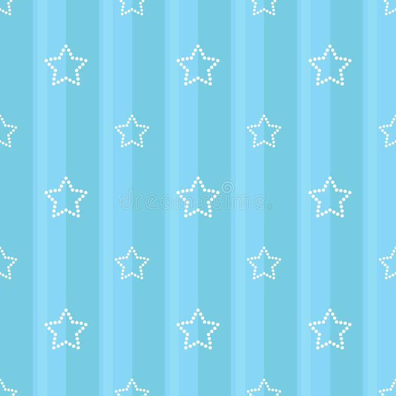 Free Striped Seamless Blue Pattern With Dotted Stars. Children`s Bedroom, Baby Nursery Wallpaper, Scrapbook Cover Or A Gift Wrap. Stock Photography - 110450362