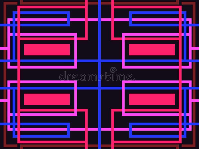 Striped seamless pattern. Abstract geometric background. Purple, blue and red color. Vector royalty free illustration